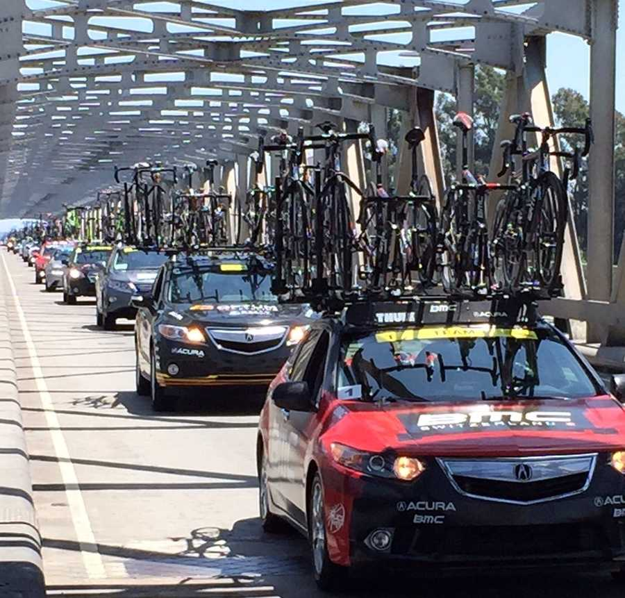 Bicyclists cross the Rio Vista Bridge during the latter part of the first phase of the Amgen Tour of California. (May 10, 2015)