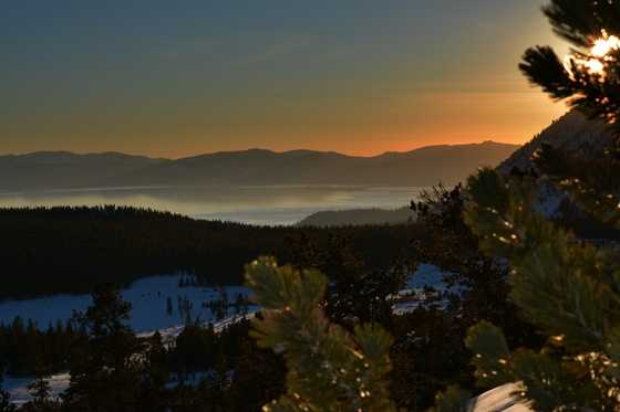 The options are seemingly endless in the Lake Tahoe region. Here's a photo of the sunset over Tahoe, after hiking up a snowy trail on Mt. Rose.