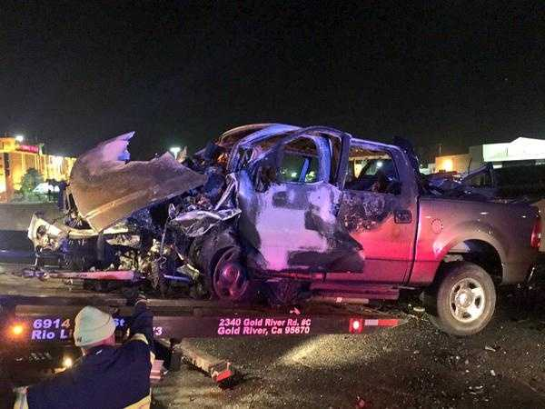 CHP officers told KCRA 3's Brian Hickey that they saw this Ford F-150 driving the wrong direction when it slammed into a Lexus and burst into flames. (May 12, 2015)