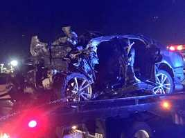Two people inside this Lexus sedan were killed early Tuesday morning when their vehicle was hit head-on by a wrong-way driver, CHP said. (May 12, 2015)
