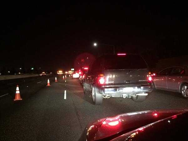 Traffic was backed up early Tuesday morning after the triple-fatal crash on Interstate 80 near Watt Avenue. (May 12, 2015)