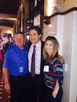Dr. Oz and KCRA/KQCA General Manager Elliott Troshinsky smile for the camera.