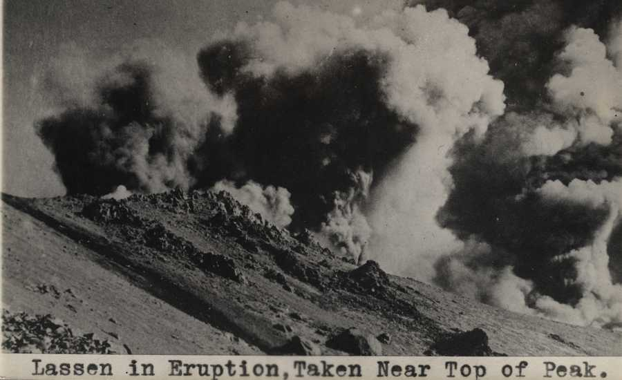 A photo of the Lassen eruption taken from near the top of the peak.