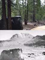 A look at Lassen Peak now compared to a photo taken after the 1915 explosion.