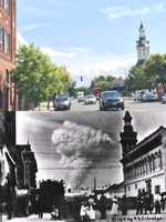The top photo of modern-day downtown Red Bluff compared to photo taken from the same spot 100 years ago, after the eruption.