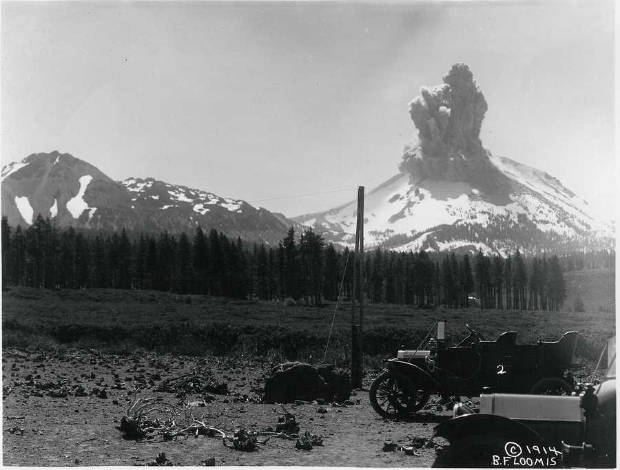 These historical photos provided by the U.S. National Park Service were taken after the May 22, 1915 explosion at Mount Lassen.