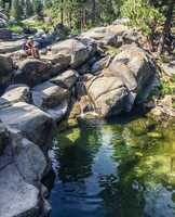 Right near the Dinkey Creek Campgrounds are the Honeymoon Pools, which have a couple little trails of water snaking through the rocks.