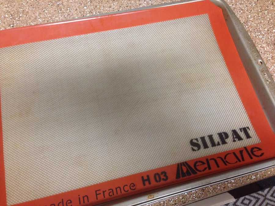 9.) When you're ready to bake, try a Silpat instead of cooking spray or parchment paper. I ordered mine on Amazon, and it's flexible, non-stick, reusable and perfect for delicate treats.