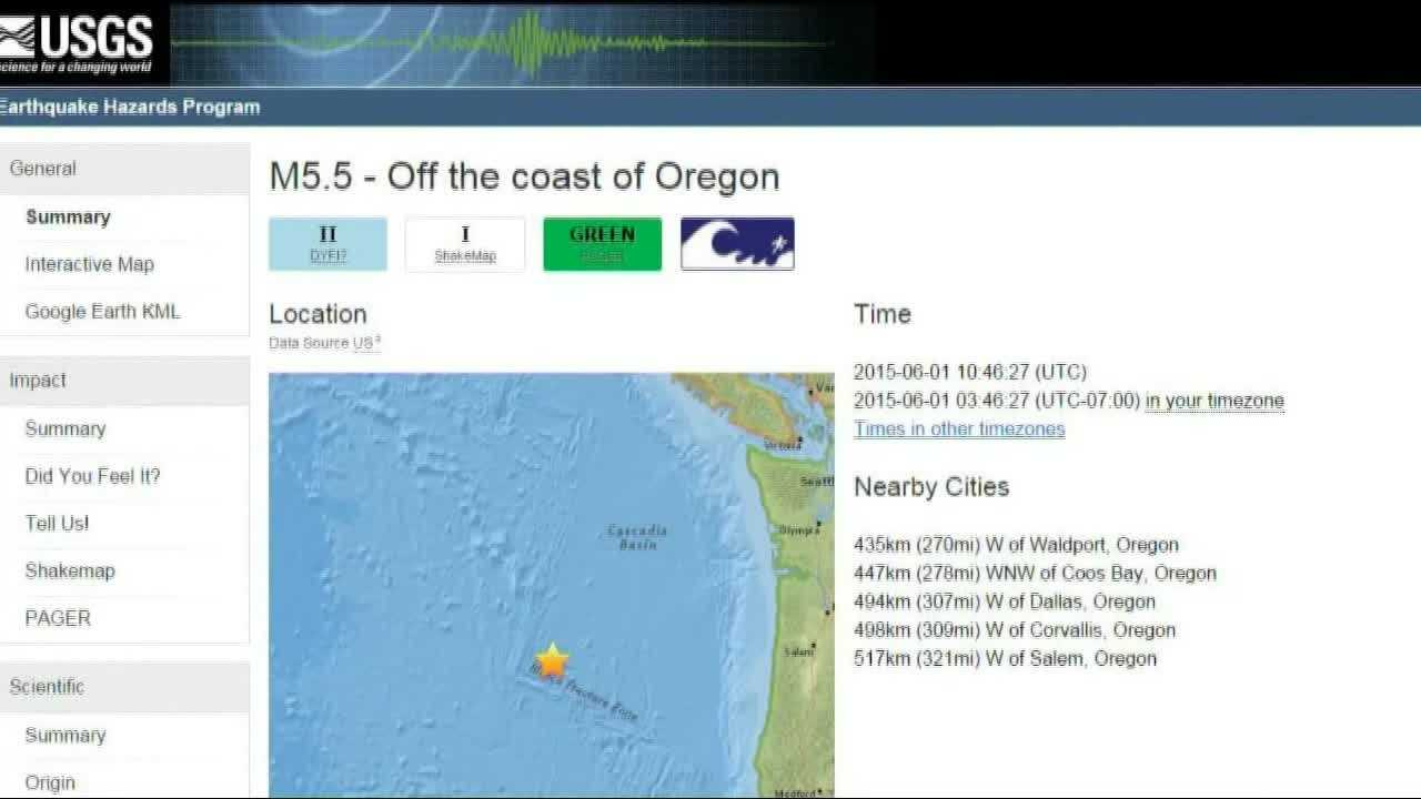 At least five earthquakes have been reported off the Oregon coast since Sunday.