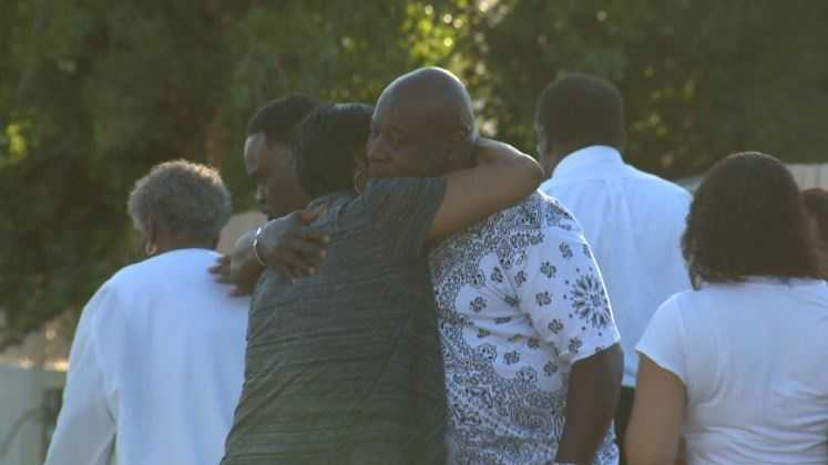 Family members of one of the victims hugged one another following a double drowning in Isleton on Sunday afternoon.
