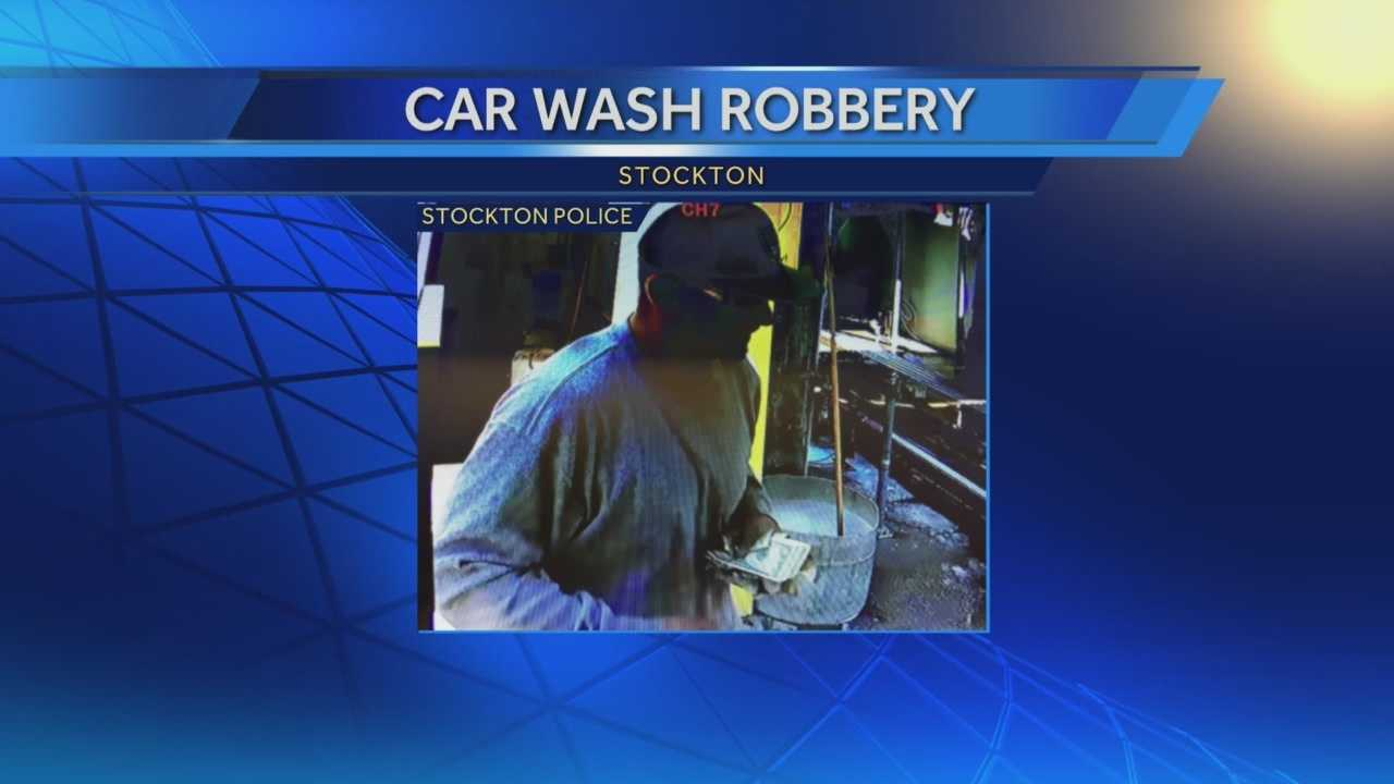 Stockton police are searching for a man suspected of a strong-armed robbery at a car wash.