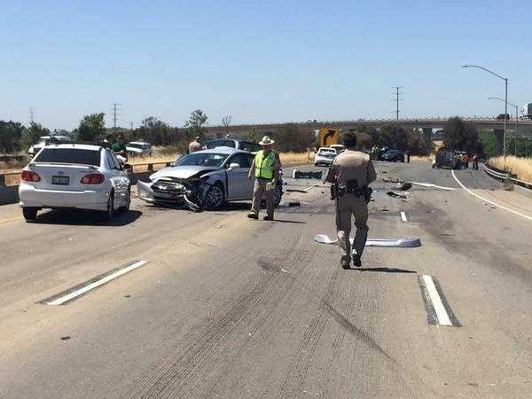 A crash involving eight vehicles and a big rig blocked all westbound lanes on Interstate 80 at Highway 50 in West Sacramento.