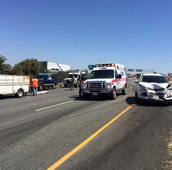 The crash took place about 11 a.m. Tuesday at the I-80/Highway 50 connector, not far from the IKEA shopping center, according to the California Highway Patrol. (June 16, 2015)