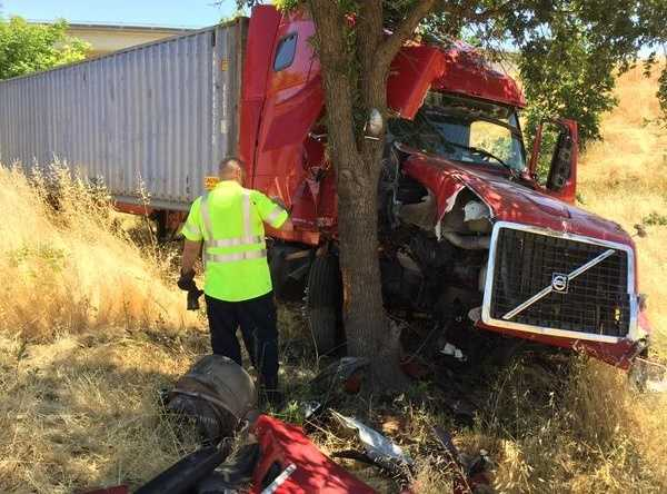 The big rig slammed into this tree after hitting eight vehicles on I-80 in West Sacramento, according to the CHP. (June 16, 2015)