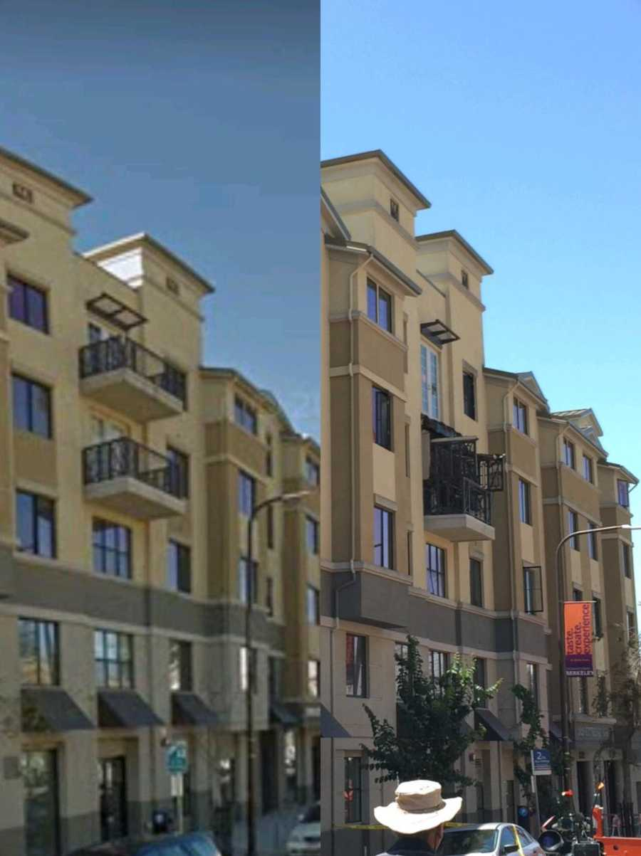 The following image shows the Berkeley apartment complex before and after the balcony collapse. Image on left provided by Google Maps.