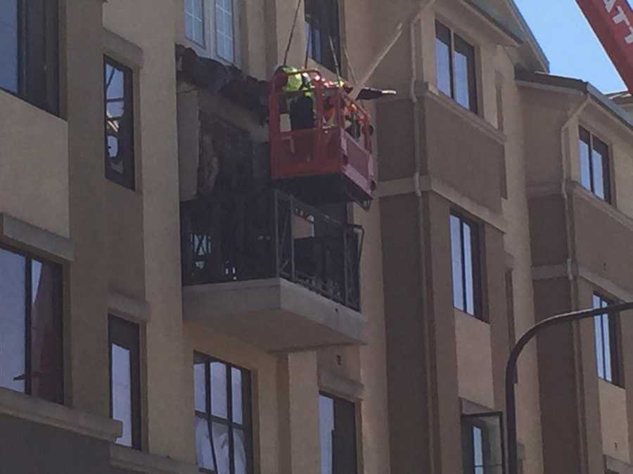 A picture of the collapsed balcony at the Berkeley apartment complex on Kittredge Street. (June 16, 2015)