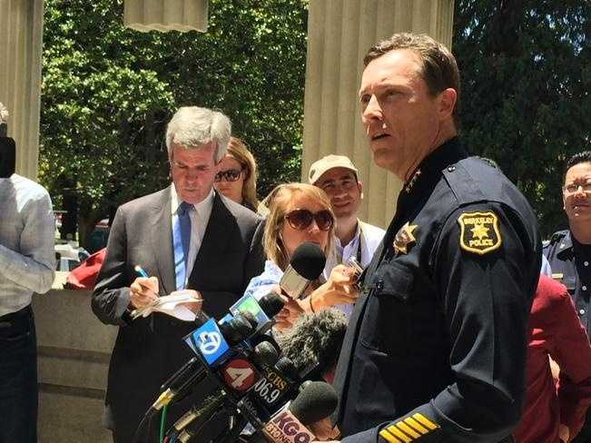 Berkeley Police Chief Michael K. Meehan discusses the deadly balcony collapse during a news conference on Tuesday. (June 16, 2015)