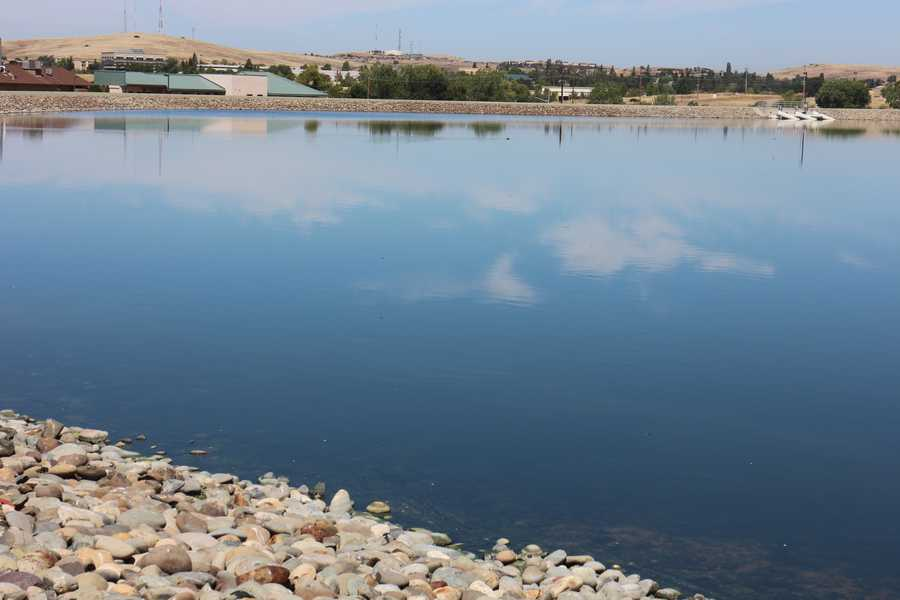 The pond holding water to be recycled has only been dredged once in thirty years. EID representatives say it was a major undertaking, but the water here is already partially treated leaving less solid material moving to the bottom.