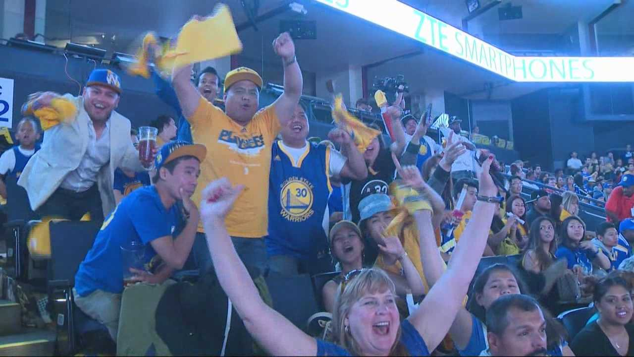 Warriors' fans honked their horns and danced in streets throughout the San Francisco Bay Area to celebrate their team's first NBA title in 40 years.