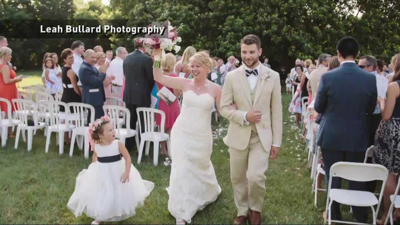 A 4-year-old flower girl stole the show at a Tennessee wedding when she kissed the ring bearer.