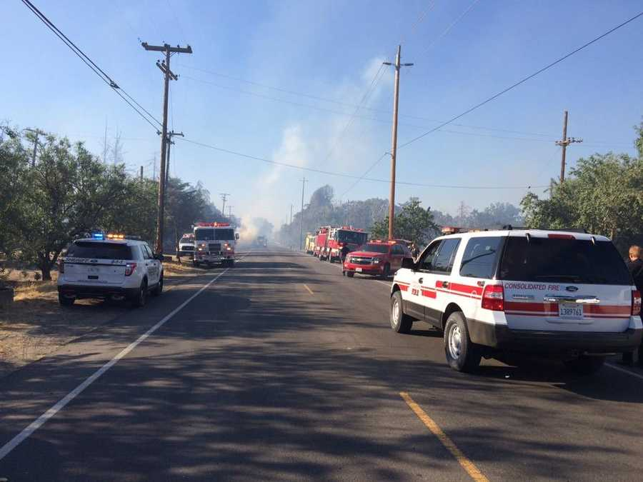 A fire burning along the Stanislaus River forced the closure of McHenry Avenue near Del Rio. (June 18, 2015)