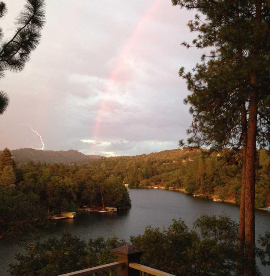 Lightning (and a rainbow) near Lake Wildwood (July 2, 2015)