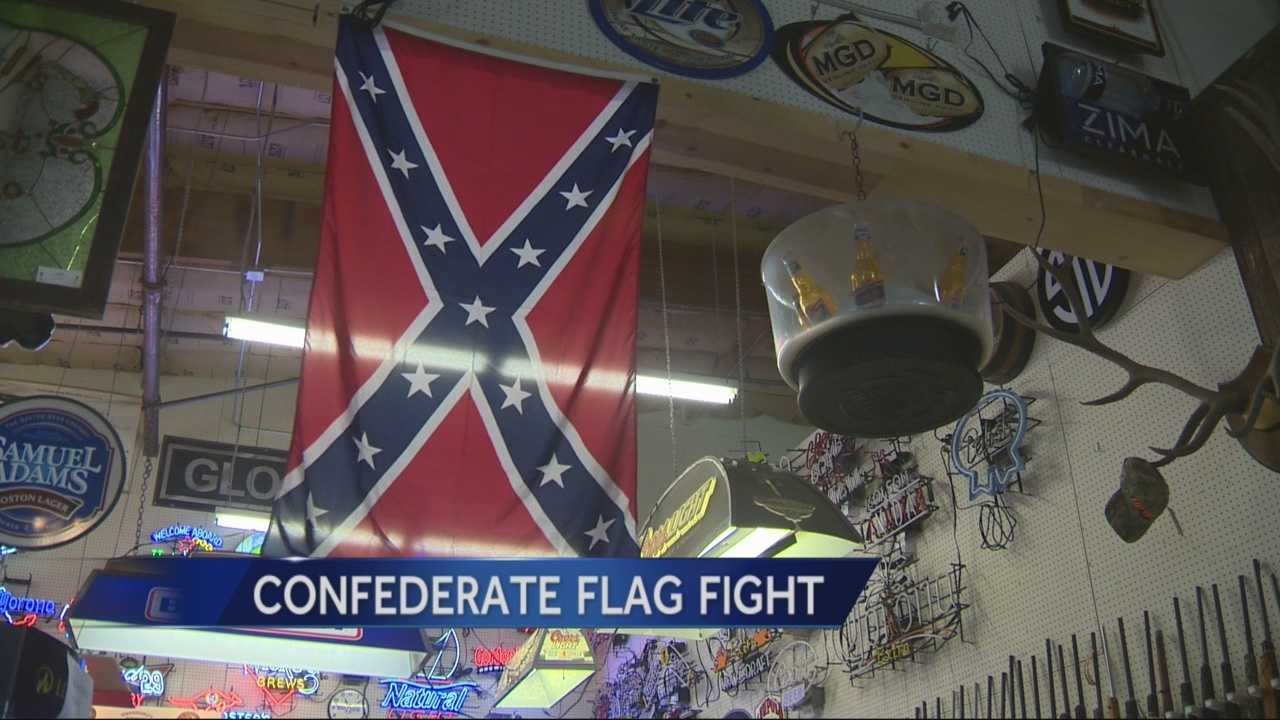 A fight over the confederate flag at an Elk Grove business ended peacefully Friday afternoon.