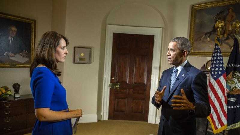 KCRA's Edie Lambert interviews President Barack Obama in the Roosevelt Rom of the White House on June 3.