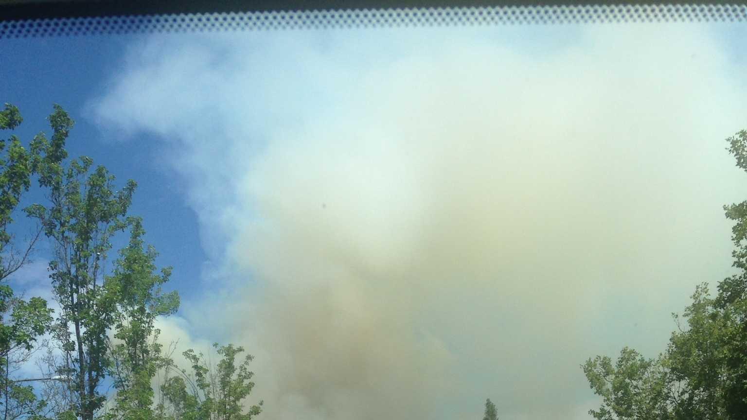 Grass fire burning near Danville. (July 7, 2015)