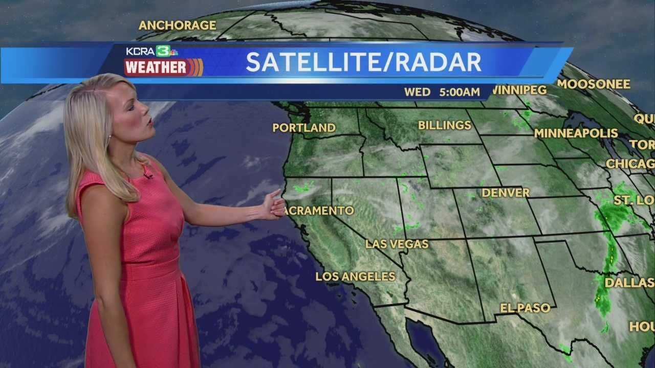 KCRA 3 Weather meteorologist Tamara Berg follows the cooler changes for the valley and t-storms for the Sierra.
