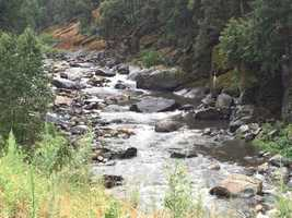 Rain flows into the south fork of the American River, which will eventually flow into Folsom Lake.
