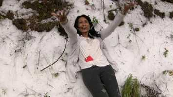 Yurexi Waters lives in Novato but is originally from Venezuela. On Thursday, she saw hail and snow for the first time.