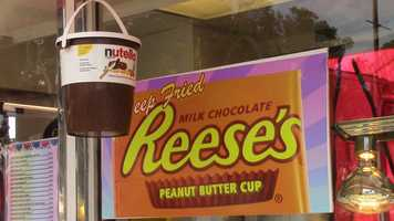 Or maybe you'd like another famous treat as a deep-fried dessert. Grab a bite of a deep-fried Reese's Peanut Butter Cup.