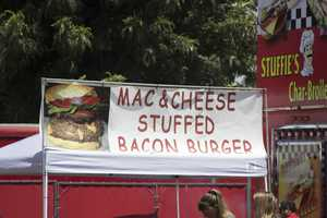 Combine some of America's favorite foods and what do you get? A mac and cheese stuffed bacon burger.