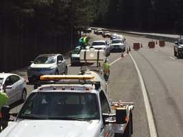Vehicles were stacked up Thursday evening on Highway 50 in El Dorado County as they waited to exit the highway, which was closed as crews battled the wildfire.
