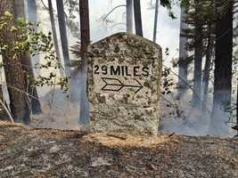 The Kyburz Fire was burning very near the 29-mile track in the El Dorado National Forest.