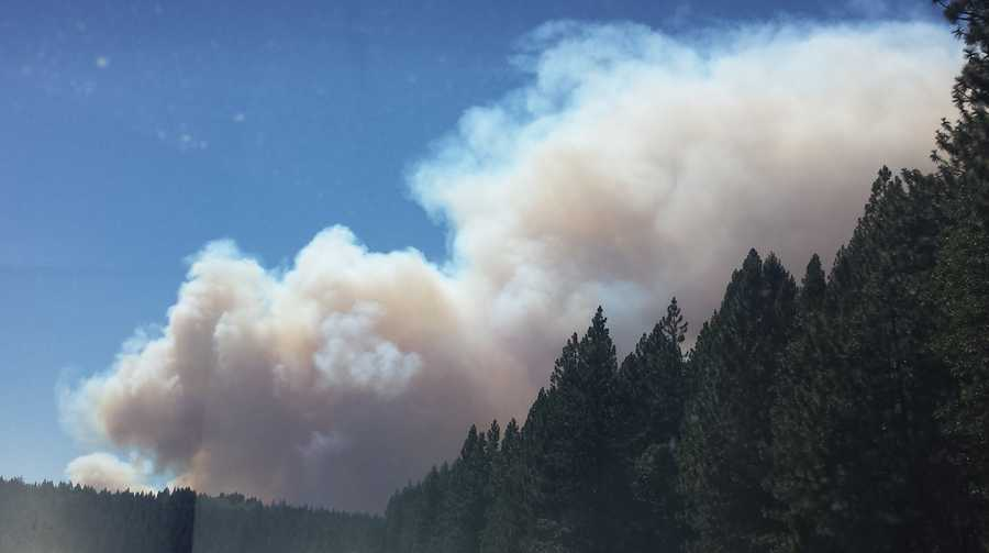 Smoke filled the air above the hills along Interstate 80 in Nevada County.