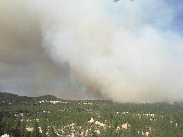Smoke blanketed Nevada County as the large wildfire continued to burn.