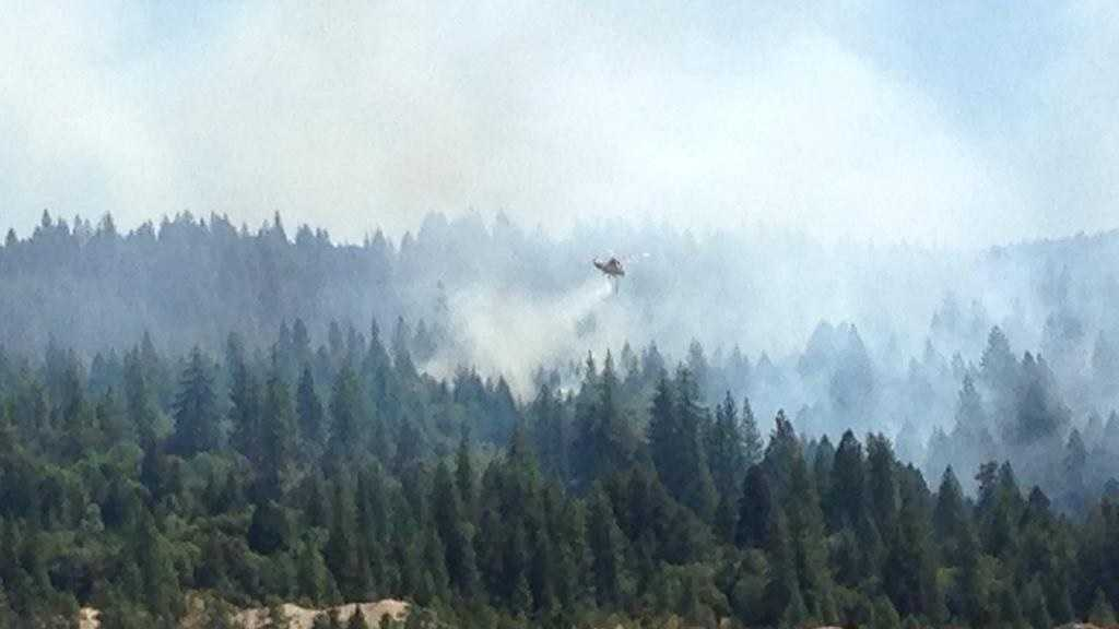 Helicopters tackled the Lowell Fire in Nevada County as some people were forced to leave their homes as part of a mandatory evacuation.