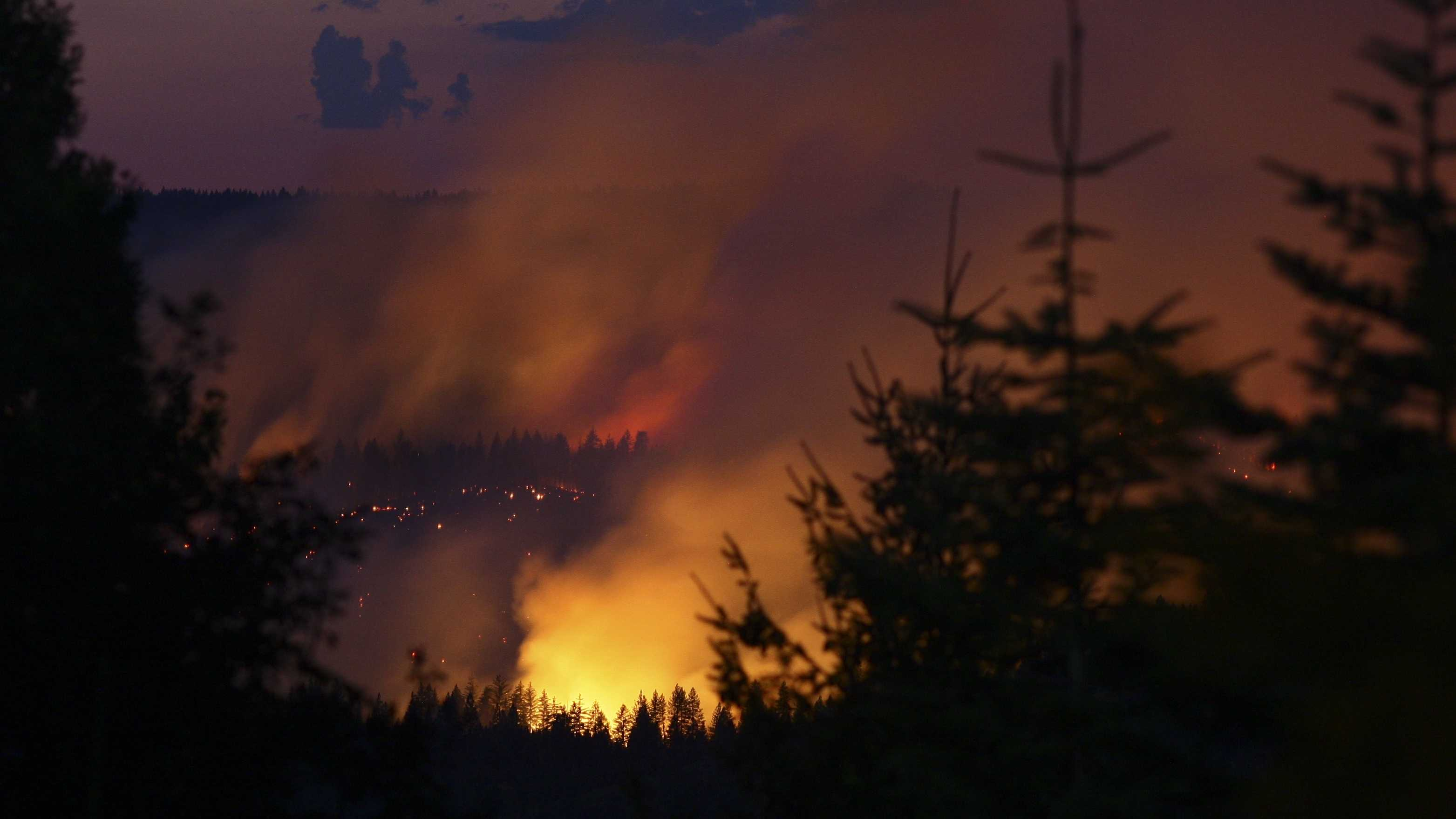 As night fell, bright orange and yellow flames illuminated the forest through the trees in Nevada County.