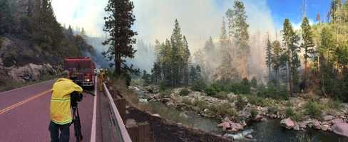 A fire that broke out near the town of Kyburz forced the closure of a stretch of Highway 50, causing major traffic delays for drivers trying to get to and from South Lake Tahoe.