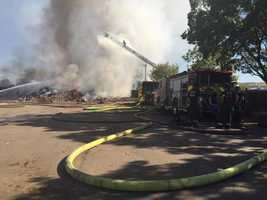 An intense fire broke out Tuesday afternoon at a south Sacramento waste transfer station, sending a large plume of black smoke in the air as flames burned construction and demolition materials.