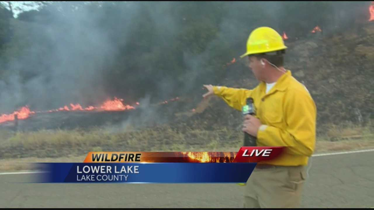 KCRA's Brian Hickey went straight to the front lines for his live report Thursday morning as flames shot up around him.