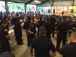 Hundreds of firefighters were briefed each day on the Rocky Fire and the strategy to battle the flames and save thousands of homes and businesses.