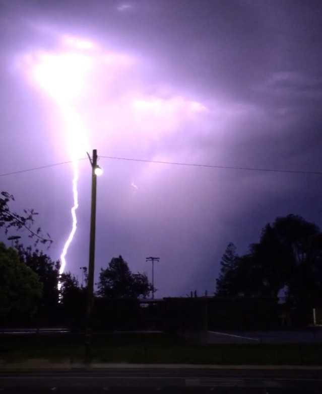 The sky really lit up when this lightning bolt burst through the clouds near Manteca. (Aug. 6, 2015)