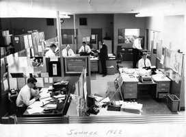 A look at the KCRA newsroom during the summer of 1962.