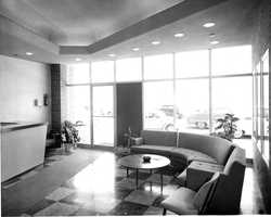 Welcome to KCRA! Visitors to the television station in the 1950s had to first stop in the KCRA lobby.