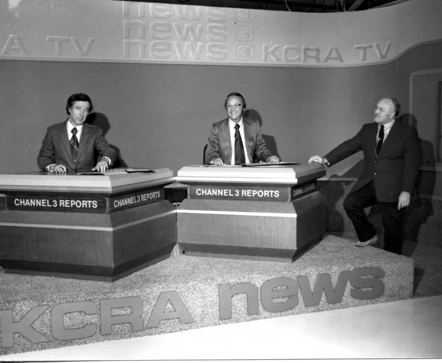 The KCRA 3 News set during the year of 1975.