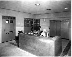 A look at the KCRA radio control room in 1949.