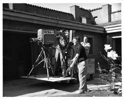 On the set of a commercial shoot during the late 1950s.